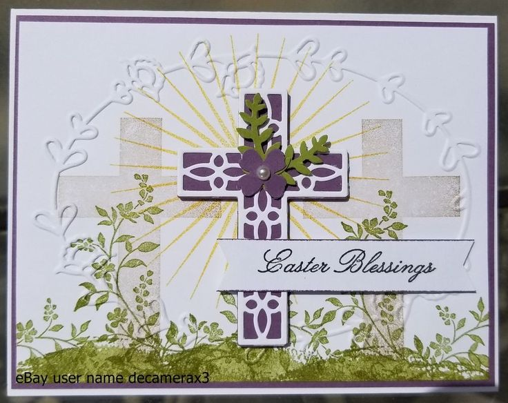 """HANDMADE STAMPIN' UP! """"HOLD ON TO HOPE"""" EASTER CARD KIT SET OF 4. EACH CARD IS BLANK ON THE BACK FOR YOUR OWN PERSONAL STAMP. EACH CARD IS IN IT OWN A2 CLEAR CELLOPHANE SLEEVE ENVELOPE. YOU WILL RECEIVE 1 COMPLETED CARD AND ALL THE SUPPLIES YOU WILL NEED TO MAKE 3 MORE CARDS WITH 4 MATCHING ENVELOPES. 