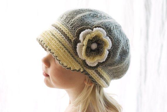 Girls Hat, Crochet Kids Hat, Childs Hat, Crochet Hat, Newsboy Hat,Gils Knit  Knitted Children's hat/cap yellow grey white brown  3-6 years