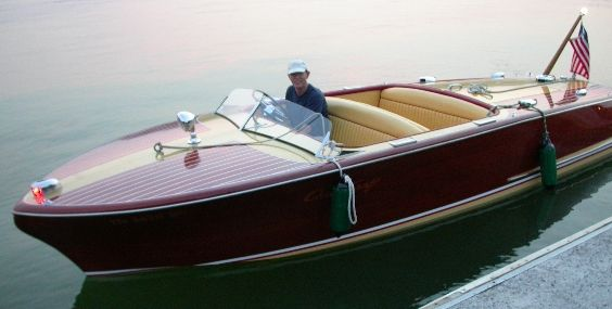 A wooden Chris Craft boat.