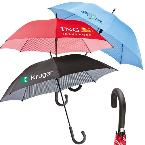"""The Pin Stripe (330392) - Unique pin stripe design to add fashion to your design -auto open -48"""" arc -33"""" folded -stick umbrella with black handle -available in black, red, and blue!"""
