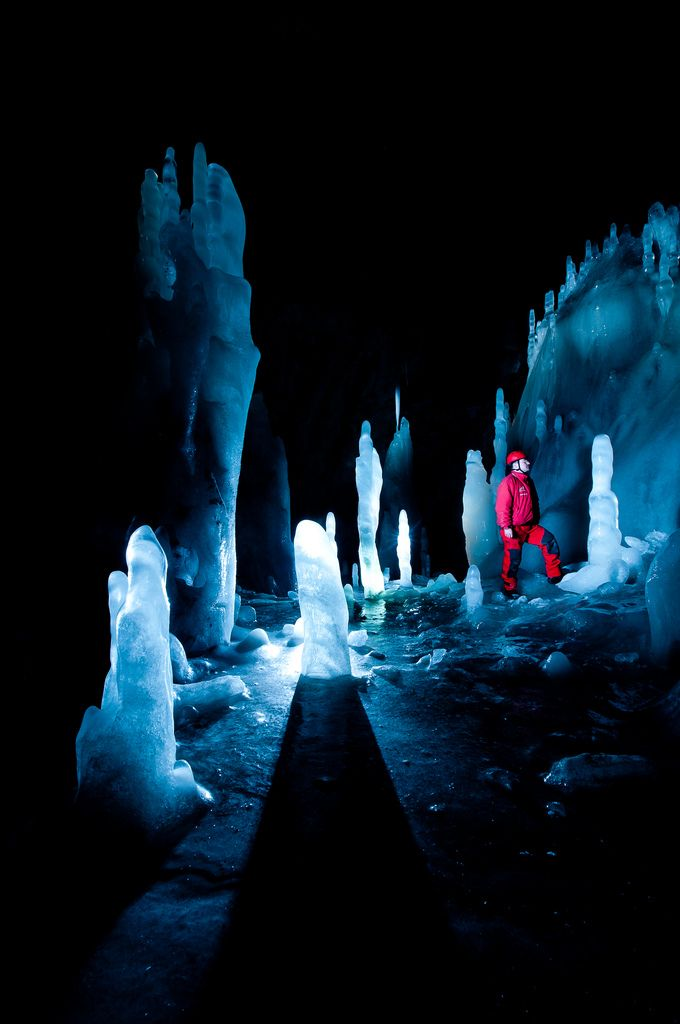 Scărişoara Glacier, Romania This glacier is contained within a cave of the same name in the Carpathian Mountains, with changes in temperature creating ice stalagmites. Photo: Sergiu Bacioiu