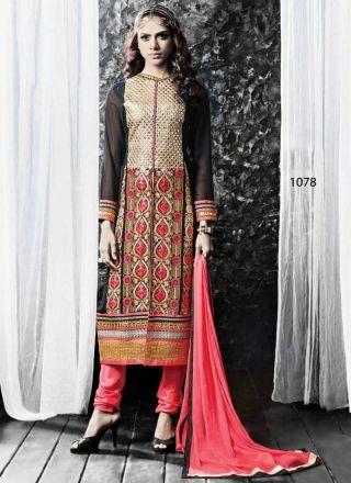 Sightly Pink and Black Resham Work Embroidery Churidar Suit http://www.angelnx.com/Salwar-Kameez/Churidar-Suits