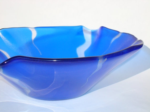#electric #blue fused #glass #bowl: Fused Glass