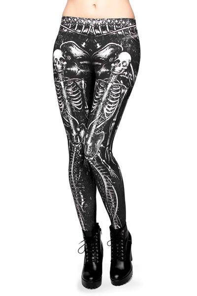 With all of the typical skull leggings out there, our unique Mermaid Skeleton Leggings are the amazingly edgy breath of fresh air that your wardrobe is craving. Featuring an all over neutral black and white skeletal mermaid design, these cool bottoms will give your outfit a major style boost. In addition to looking great, you will be feeling fabulous in the luxuriously soft all day comfort fabric.