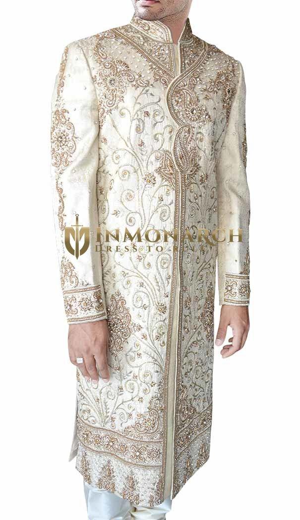 Traditional Groom Cream Sherwani #Inmonarch #Sherwani #Wedding #Indian Wedding Wear #Inmonarch Wedding Wear #Celebration Wear #Special Occasion #Indian Ethnic Wear