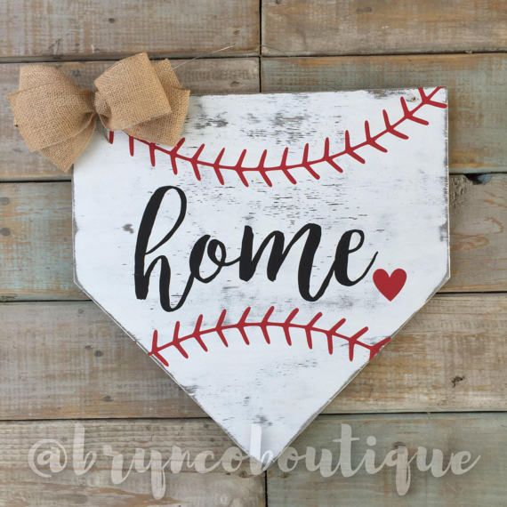 Home - Heart, Baseball, Home Plate, Door Hanger, Wreath