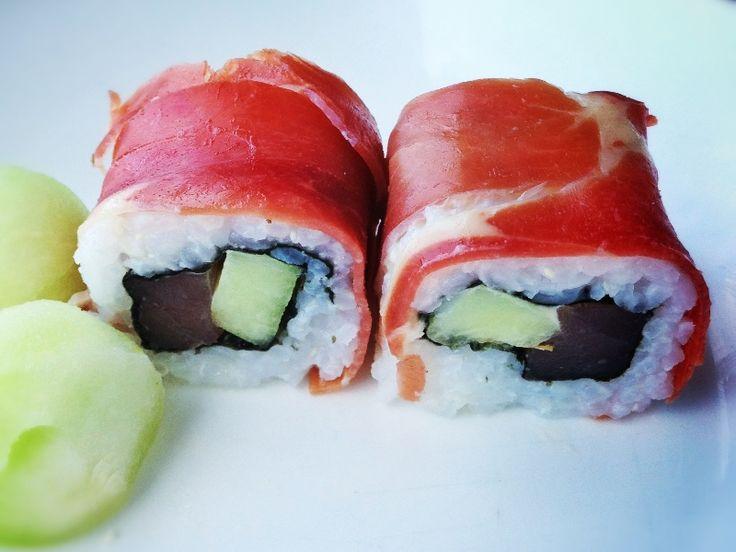 Sushi recept: Tapas sushi met tonijn, rauwe ham en meloen