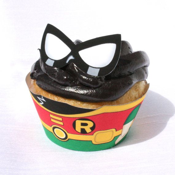 Teen Titans  Inspired Robin Cupcake Wrapper Instant by Shnookers, $4.00