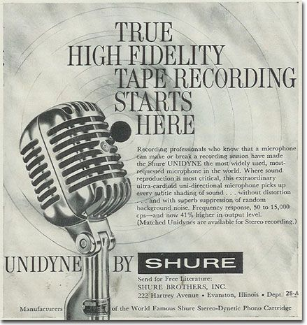1960 Shure 55 microphone adin the Reel2ReelTexas.com's vintage recording collection