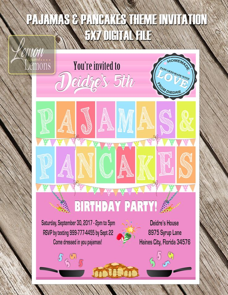 A personal favorite from my Etsy shop https://www.etsy.com/ca/listing/549771292/pajamas-and-pancakes-birthday-invitation
