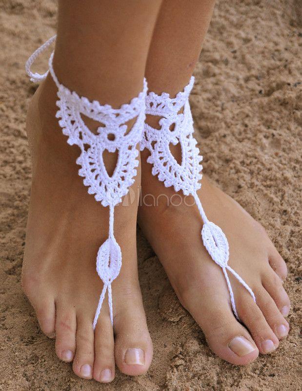 Elegante branco sandálias descalços de Crochet para senhora - Milanoo.com