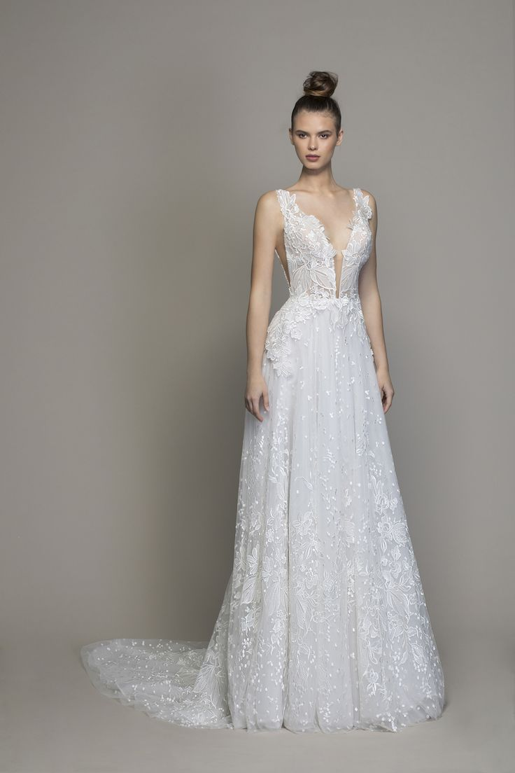 Guipure Lace Sheath Wedding Dress With Plunging V-neckline