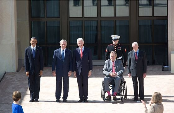 Amazing photo of history from today.President Obama with former Presidents George W. Bush, Bill Clinton, George H.W. Bush, and Jimmy Carter, at the opening of the George W. Bush Presidential Library, April 25, 2013