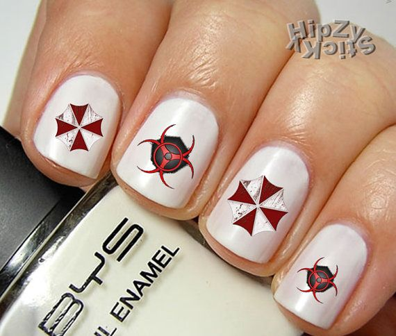 """20 """" Resident Evil """"Umbrella Corp""""  """" Quality Water Slide/Transfer Nail Art Decals by HipZySticKy $4.50 after shipping."""