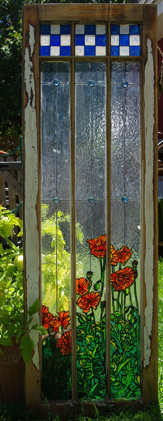 Painted Glass Orange Poppies on vintage window