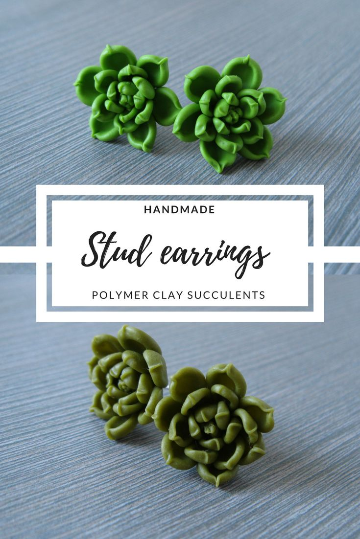 $15 Miniature succulent earrings are great nature jewelry for you. It is also a good gift for girlfriend, sister, cousin, daughter, granddaughter, niece. Every small detail of plant is made completely by hand of air dry polymer clay (cold porcelain). It is hypo-allergenic material. #studearrings #earrings #nature #jewelry #succulents #plants #green #forest #woodland #GiftForHer #love