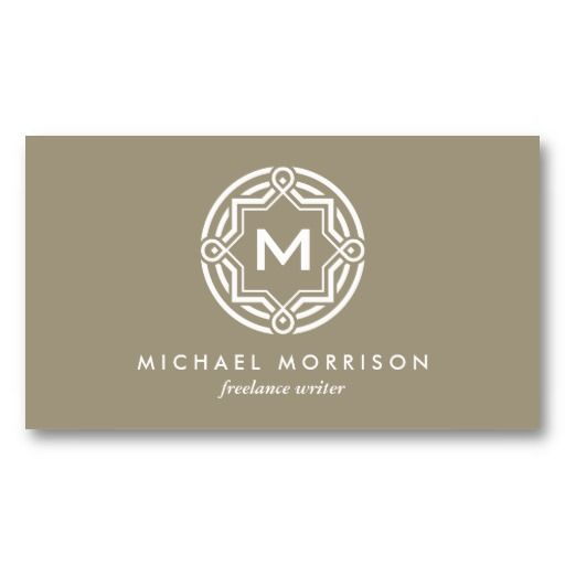DECORATIVE CIRCLE LOGO with YOUR INITIAL Customizable Personal Business Card