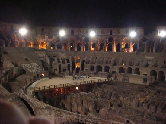 In the evening, Bob goes on a tour of the Colosseum. It was origionally called the Theatrum Flavium. It is the largest ancient intact Amphitheater.