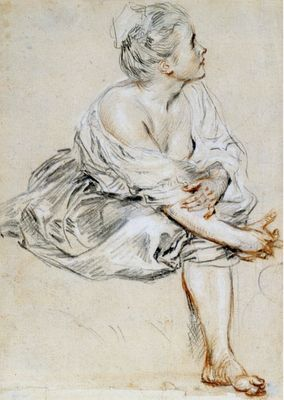 Watteau three-chalk study