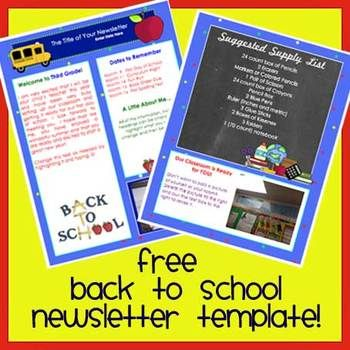 FREE!! Back to School time is VERY busy for teachers!   Let me help you save time with your Back to School newsletter. This two page template is ready to use. Just open, type, and print (or email) it! The text can be customized to fit your needs. Add pictures too. Try it. It's fun and super easy!   Have a great school year!  Includes template as an individual .docx file.