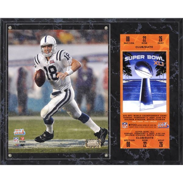 "Peyton Manning Indianapolis Colts Fanatics Authentic 12"" x 15"" Super Bowl XLI Sublimated Plaque with Replica Ticket - $39.99"