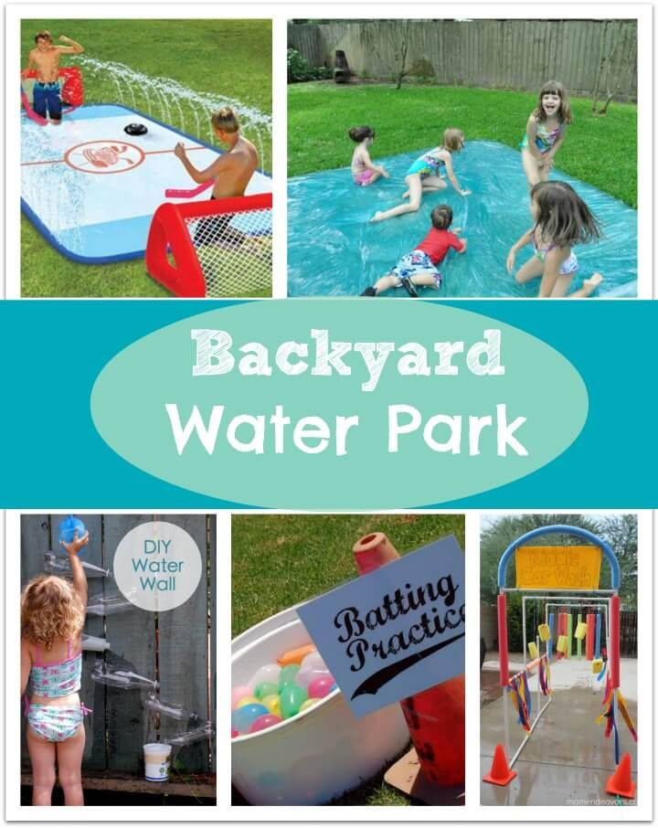 What kid doesn't love to run through the sprinklers, swim in the pool and have a water balloon fight?? Well, we are getting a little more creative this year and are going to make a backyard water park for the kids to play!