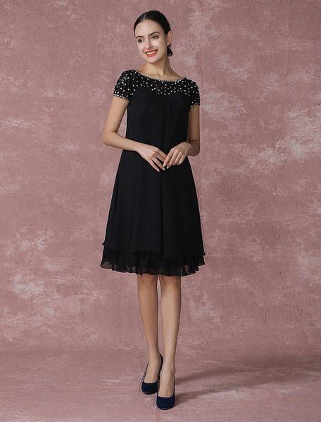 Black Mother Of The Bride Dress Chiffon Cocktail Dress Beading A Line Knee Length Wedding Party Dress Milanoo