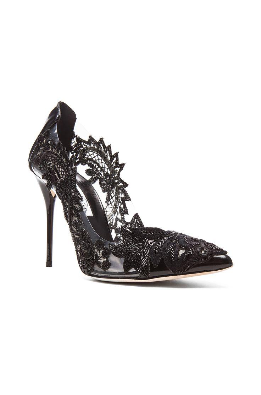 Oscar de la Renta Alyssa Patent Leather Heels in Black
