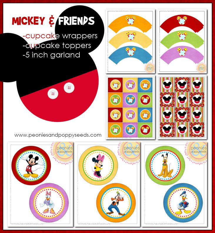 Mickey Mouse clubhouse birthday party printable set: cupcake toppers and cupcake wrappers