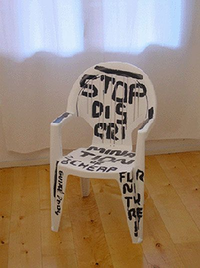 'statement chair' – limited edition of ten signed chairs, by marti guixe, 2004  stop discrimination of cheap furniture.