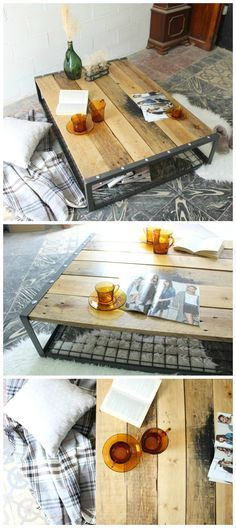 mesa industrial, mesa de madera reciclada, mesa de centro, mesa de madera con patas de metal. Industrial coffee table, upcycled wood table