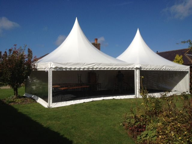 Oriental canopies joined together to create a larger space with maximum impact.