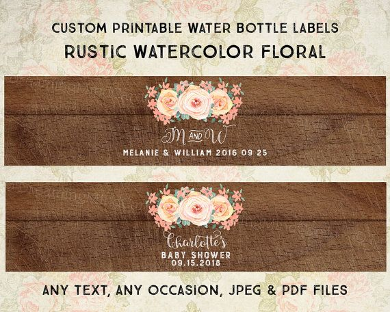 Custom Printable Water Bottle Labels Peach Watercolor Flowers Rustic Wood Country Vintage Floral Monogram Wedding Baby Shower Digital