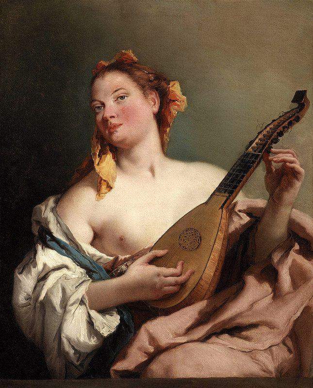 Girl with a Mandolin   by Giovanni Battista Tiepolo