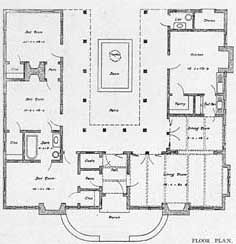 floor plan u shaped bungalow with center courtyard - Horseshoe Shaped House Plans