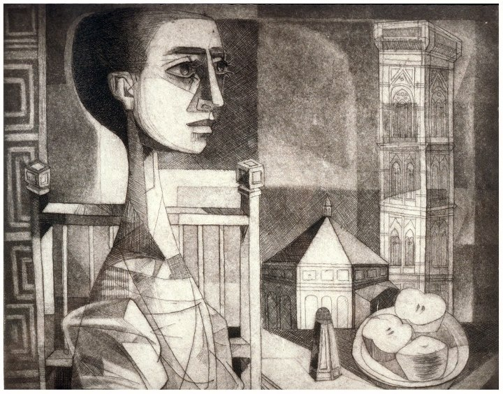 """AMA collection #245: """"Prima Colazione a Firenze (Breakfast in Florence)"""" (1964) by Enrique Grau (Colombia). AMAmuseum.org    One of my favorites from the collection.."""