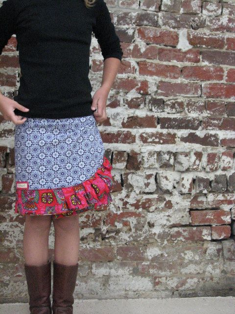 pdf MERRY-GO-ROUND Wrap Skirt pattern and tutorial...sizes 7-12yrs., reversible wrap skirt