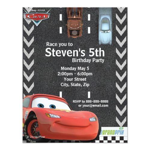 Disney Boy's Birthday Cars Birthday Invitation