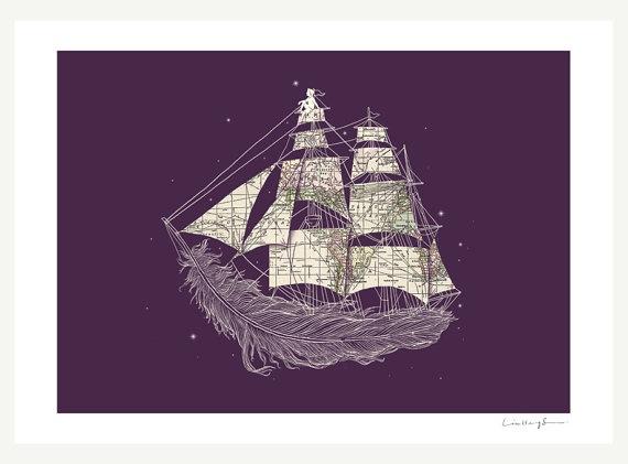 \Tattoo Ideas, Illustration, Art Prints, Wind Blowing, Ships, A Tattoo, Henge Swee, Feathers, Sweets Tattoo