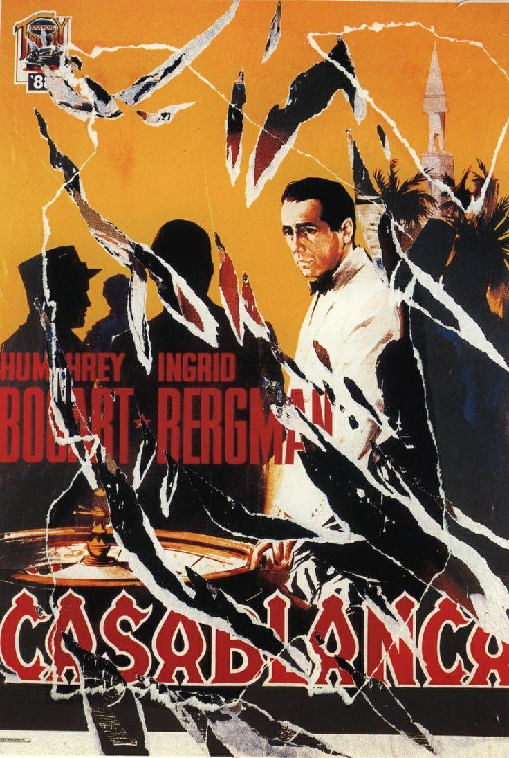 Mimmo Rotella, Casablanca, seridécollage, 70x100 cm Il seridécollage, con gli strappi fatti a mano, riproduce il manifesto del film diretto da Michael Curtiz nel 1942 e interpretato da Humphrey Bogart e Ingrid Bergman. Presenta la firma dell'artista in basso a destra, la sigla P. A. (prova d'autore) e il timbro della Fondazione Mimmo Rotella in basso a sinistra.  http://milanoarte.biz/index.php/mimmo-rotella-542.html