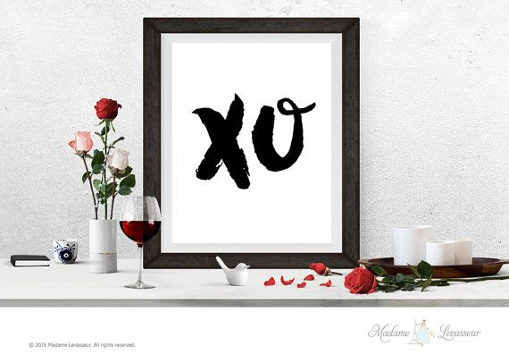 Beyonce XO #printable Art xo hugs kisses xo wall art printable typographic ink brush art XO wall art print downloadable art xoxo