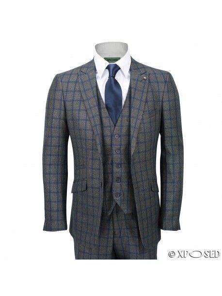 Mens 3 Piece Suit Tweed Blue Grid Check on Grey Vintage Herringbone Tailored Fit