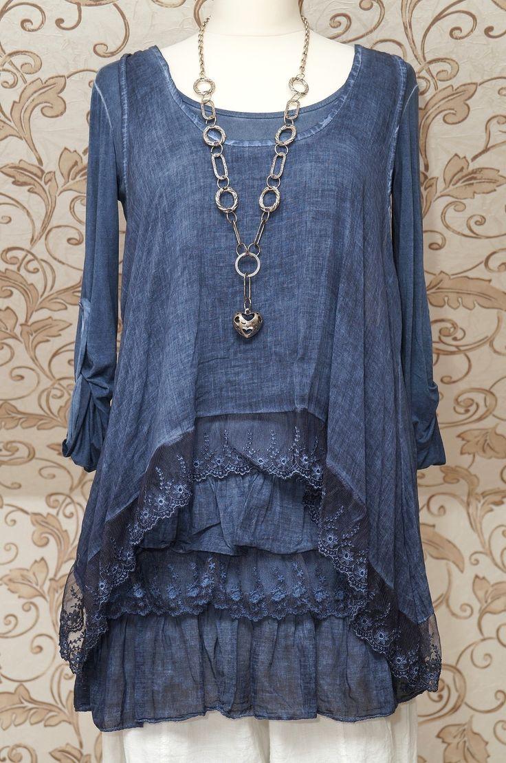 STUNNING BLUE 2PIECE TUNIC DRESS QUIRKY ITALIAN LAGENLOOK/LAYERING TOP ONE SIZE   eBay