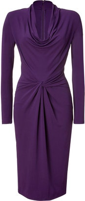ShopStyle: Michael Kors Purple Draped Cowl Neck Dress