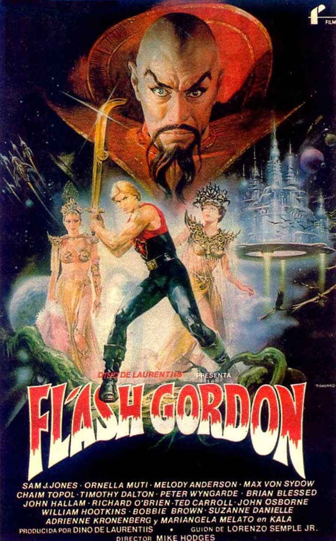 Movie: Flash Gordon, 1980. A football player and his friends travel to the planet Mongo and find themselves fighting the tyranny of Ming the Merciless to save Earth.