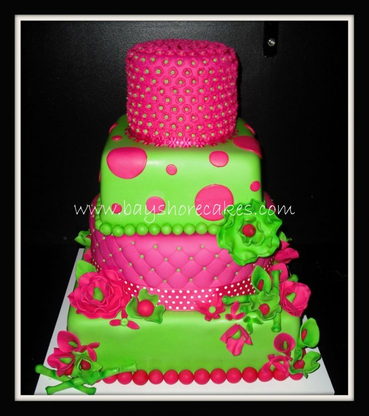 Hot Pink Lime Green Cake Perfect For Lil Girl