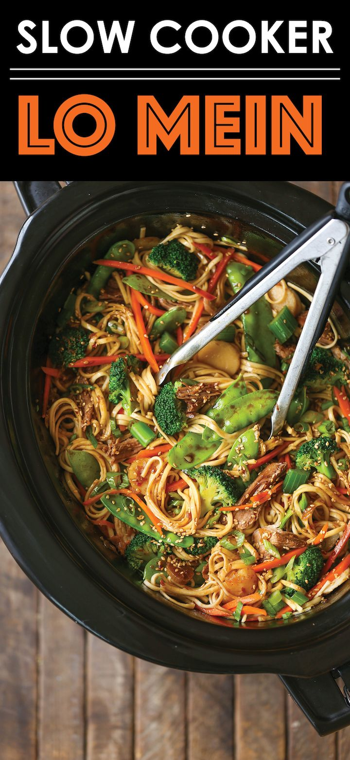 Slow Cooker Lo Mein - Skip delivery and try this veggie-packed takeout favorite for a healthy dinnertime meal that is easy to make right in your crockpot!