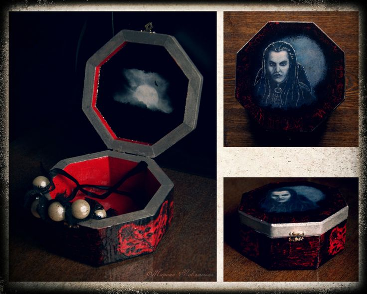 Von Krolock Box. Box with decoupaged my drawing on the cover. Graf von Krolock from the musical Tanz der Vampire.