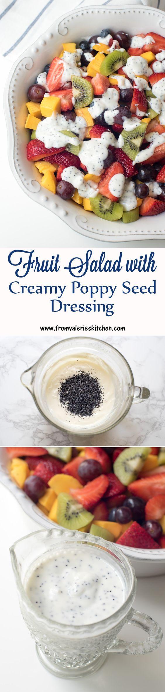 Fruit Salad with Creamy Poppy Seed Dressing ~ http://www.fromvalerieskitchen.com #Freshworks #FreshWorksCrowd [ad]