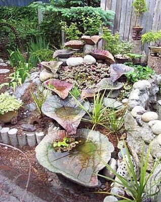 """Judy Wolters - Leaf casting (fountain) This would make a great herb garden – em: moriel.org """"Cascading Leaf Fountain....got to make a few big leaves..."""" """"Fountain ideas...so pretty!"""""""